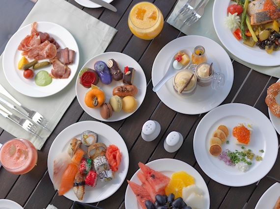 Buffet items on table